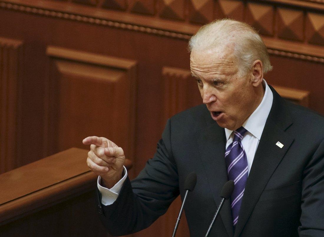 US Vice President Biden addresses deputies at the parliament in Kiev