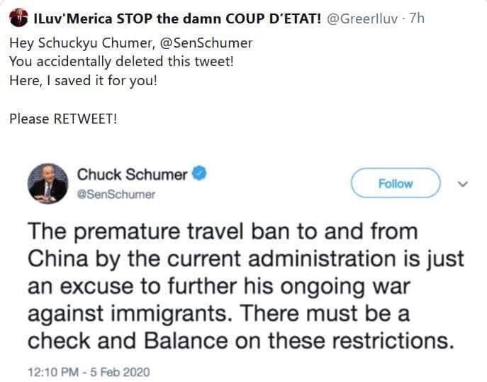 SchumerTweetOnTrumpChinaBan